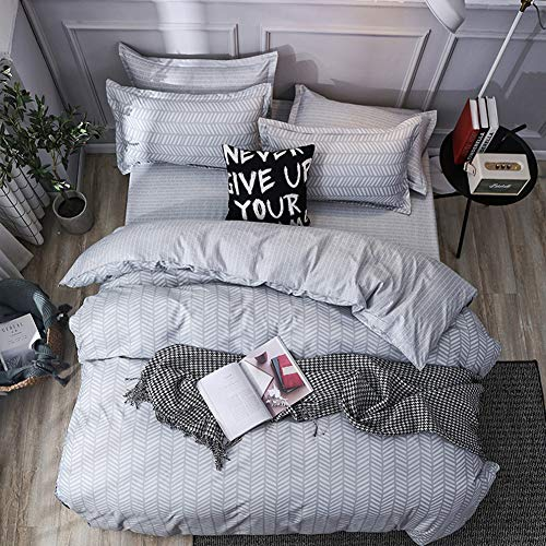 LAMEJOR Duvet Cover Set King Size Modern Simple Lines Geometric Style Reversible Bedding Set Comforter Cover (1 Duvet Cover+2 Pillowcases)