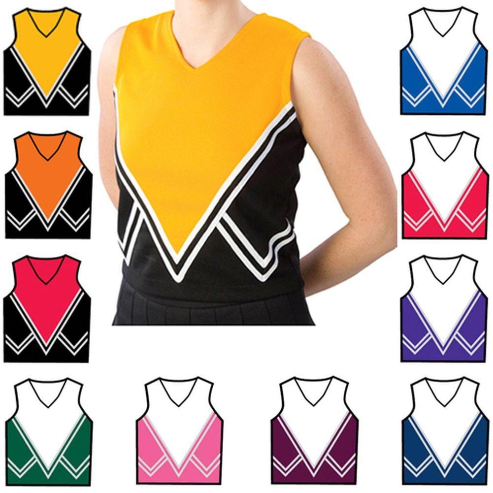 PizzazzマルチカラーCheer Half MoonホワイトSparkle Uniform Top Girl 2 – 16 B0055J1QWW Youth S (6-8)|レッド レッド Youth S (6-8)