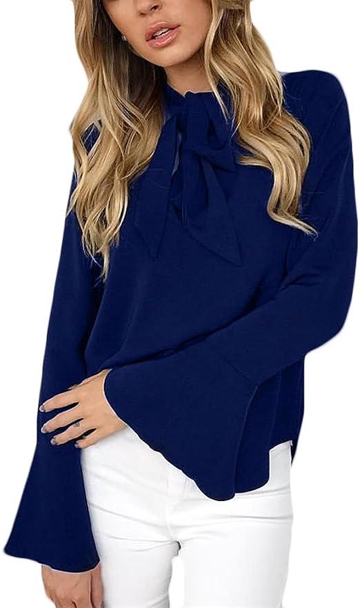 Camicia Donna Elegante Estiva Maglie A Manica Lunga Autunno Top con Cintura Butterfly Blusa Sciolto Puro Colore Maglietta Moda Casual T-Shirt Blouses