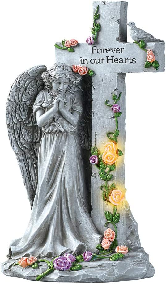 Collections Etc Angel with Light-Up Roses Stone-Like Memorial - Beautiful Display for Yard or Garden