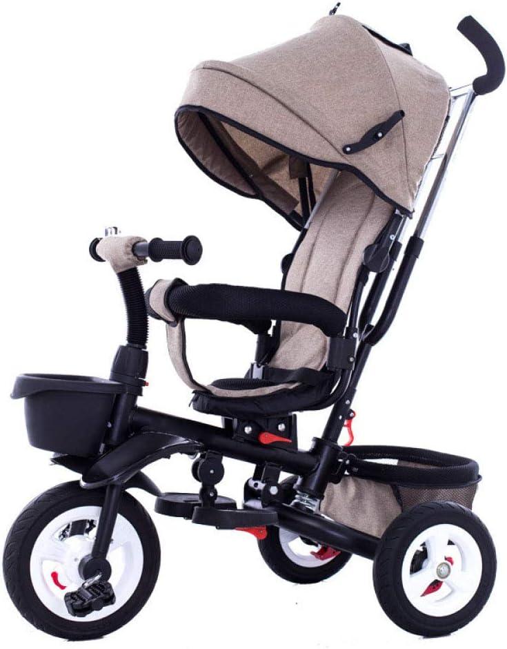 QXMEI 4 En 1 Triciclo Bebé Plegable 360° Asiento Giratorio Plegable 6 Meses A 6 Años Triciclo Infantil Mango Regulable En Altura Freno De Rueda Trasera Cochecito Capacidad De Carga 25KG,Brown