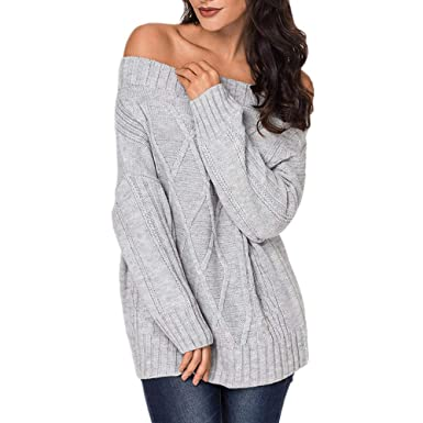 aa3c02f27b4a3 Image Unavailable. Image not available for. Color: Exlura Women's Sexy Off  Shoulder Long Sleeve Loose Cable Knit Pullover Sweater