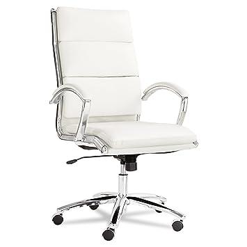 Alera NR4106 Alera Neratoli Series HighBack Swivel/Tilt Chair,White Faux  Leather,Chrome