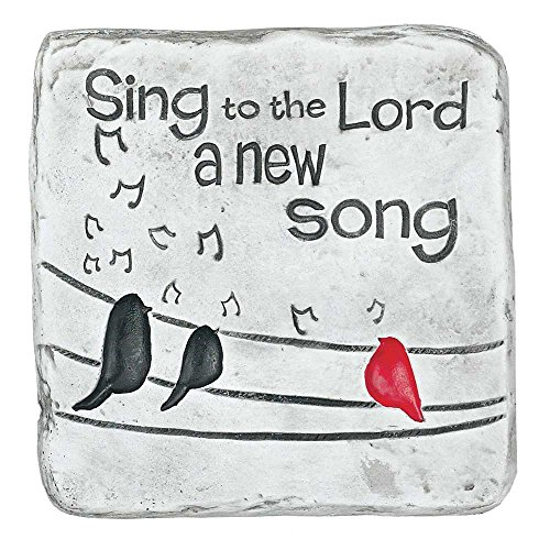 Sing to the Lord a New Song Bird and Musical Note Square Garden Plaque 7.5