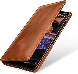 StilGut Book Type Case, Custodia per Nokia 7 Plus a Libro Booklet in Vera Pelle, Cognac con Clip