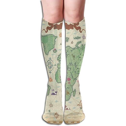 647a2f10d59 Custom Women s Knee Socks Retro Style World Map Girls Long High Knee  Stocking One Size Custom