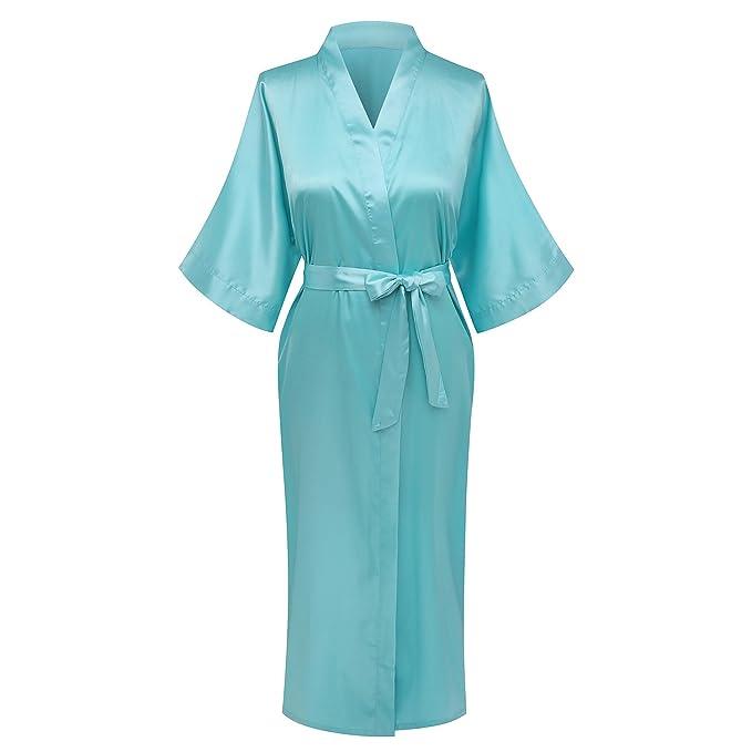 Women\'s Solid Color Robes Long Satin Lounge Wedding Kimono Dressing ...