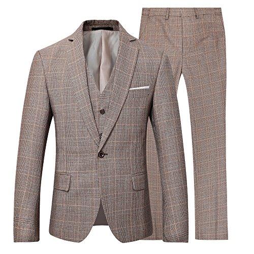 Men's Modern Fit Business Casual 3-Piece Suit Blazer Jacket Tux Vest & - Wrentham Outlets