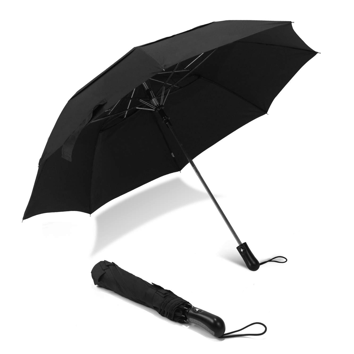 Lejorain Sturdy Folding Golf Umbrella 50inch Windproof Vented Double Canopy-Auto Open-Portable-for Men and Women by Lejorain