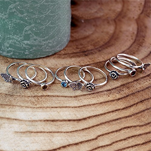 Paz Creations ♥925 Sterling Silver Set of 3 Stack Rings (7), Made in Israel by PZ (Image #2)