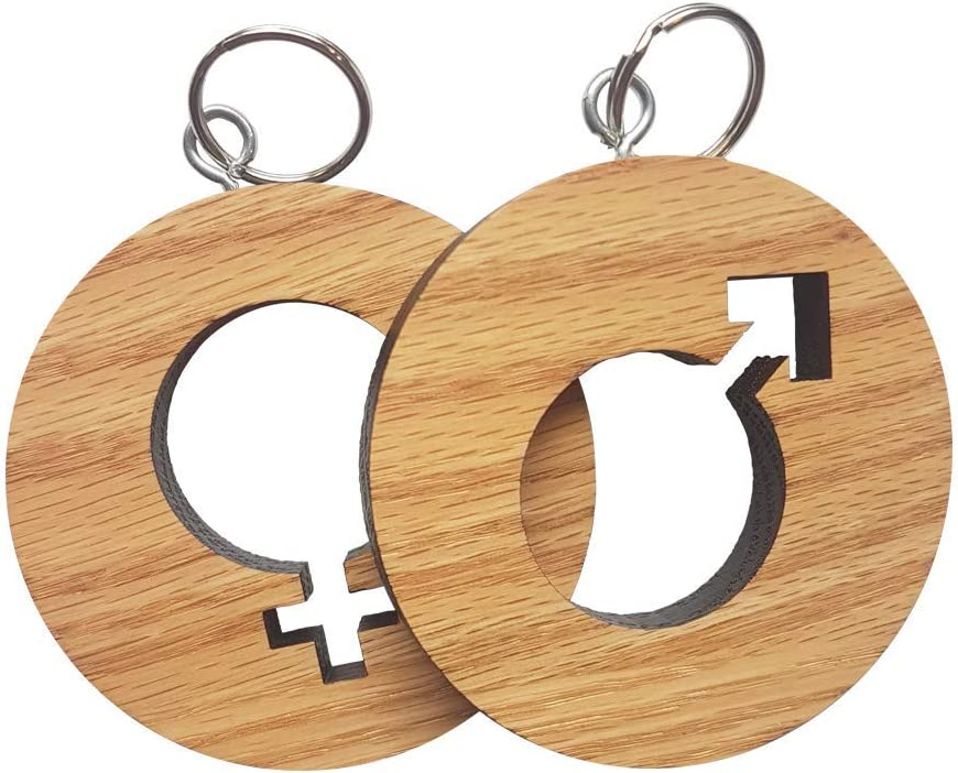 Mens and Womens Restroom Keychain Key Tag Large Chunky Durable American Red Oak - Bathroom Pass for Offices, Classrooms, and More