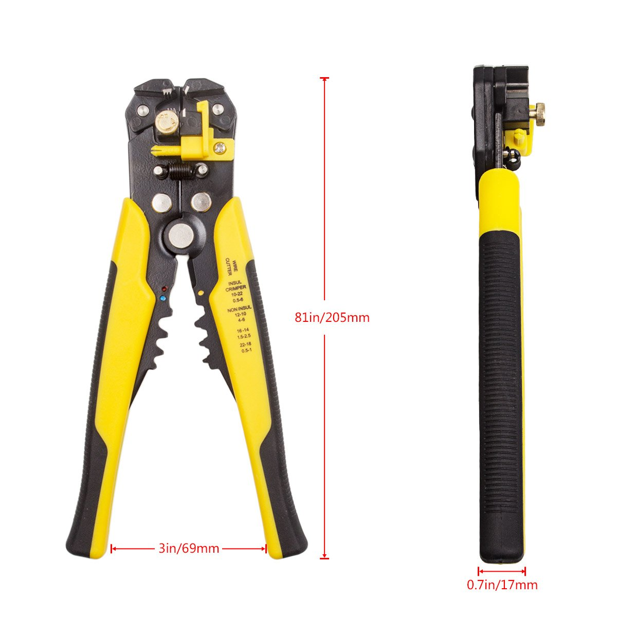 Wire Stripping Tool LANIAKEA Self-Adjusting Multifunctional Wire Stripper//Cutter//Crimper for Industry 10-24 AWG Stranded Wire Cutting