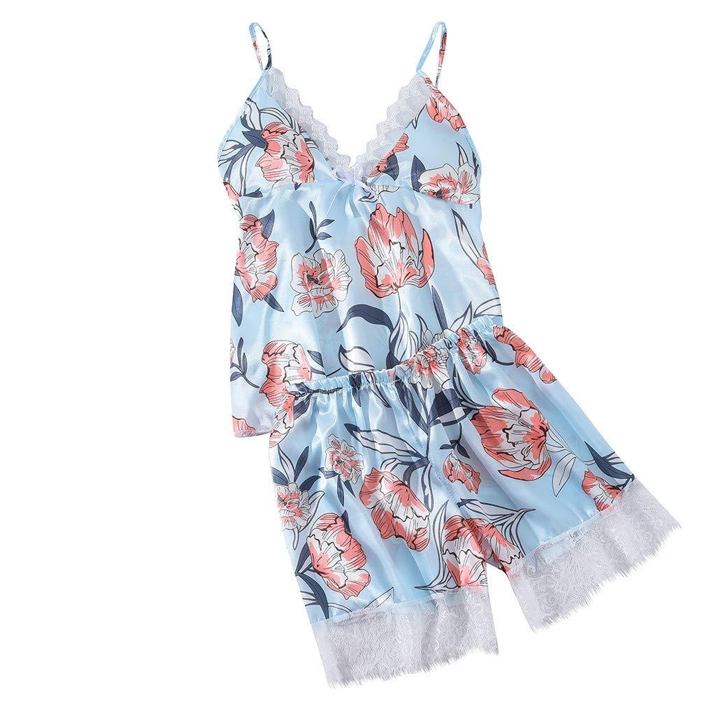 Women Satin Flower Print Silk Lingerie Bow Lace Pajamas Sleepwear Shorts Suit