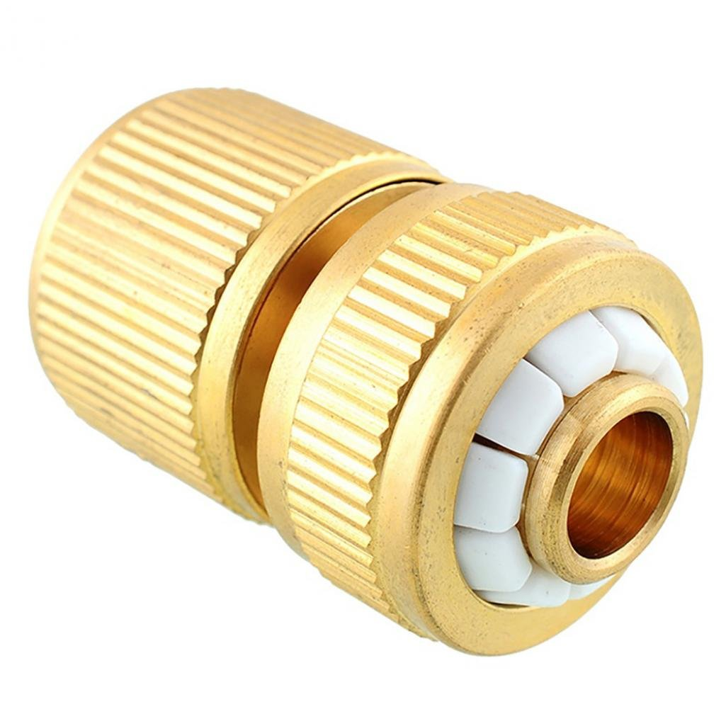 FOReverweihuajz Garden Irrigation Copper Tap Fitting Adapter Water Hose/Pipe Quick Connectors - Golden