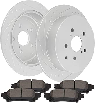 Rear Brake Rotors /& Ceramic Pad for 2008-2011 2012 2013 2014 Toyota Highlander