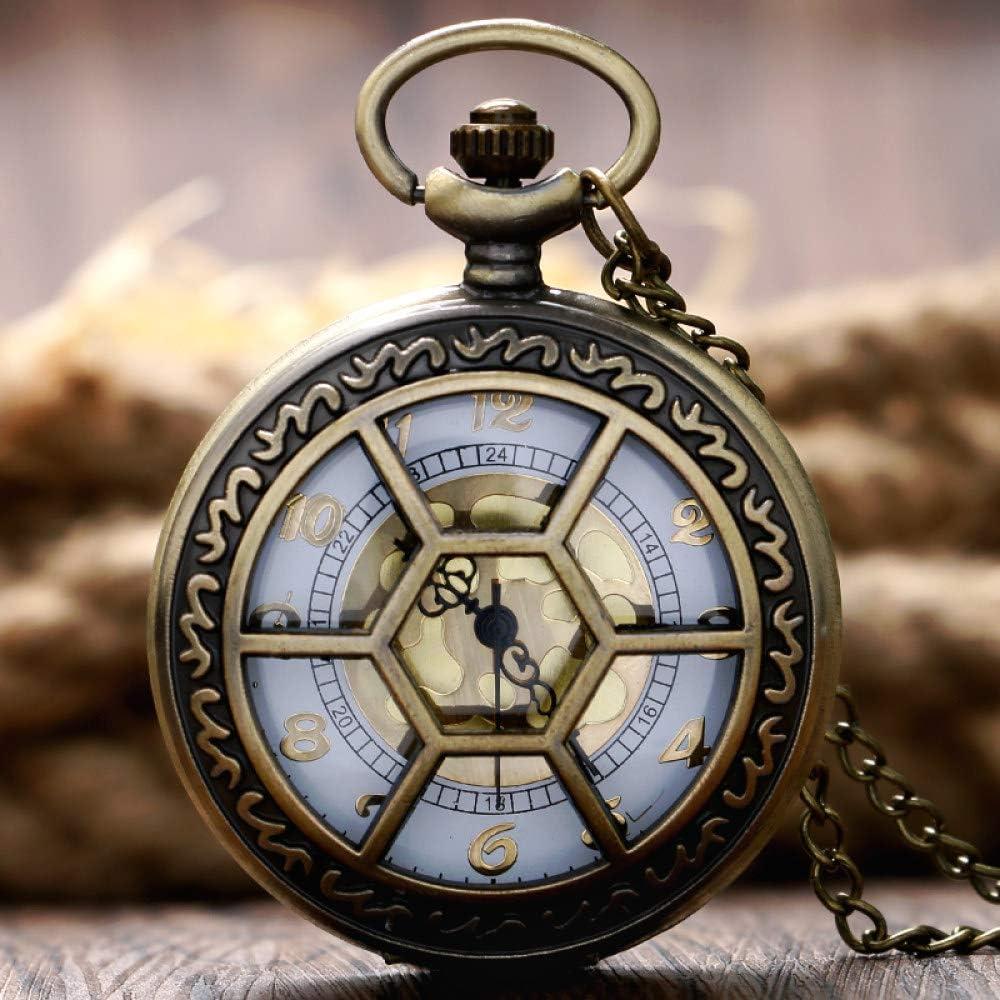 HANXIAO Relojes de Bolsillo Regalo Elegante Rejillas hexagonales Mujeres Hombres Moderno Reloj de Bolsillo Moderno Colgante de Bronce Collar Caliente