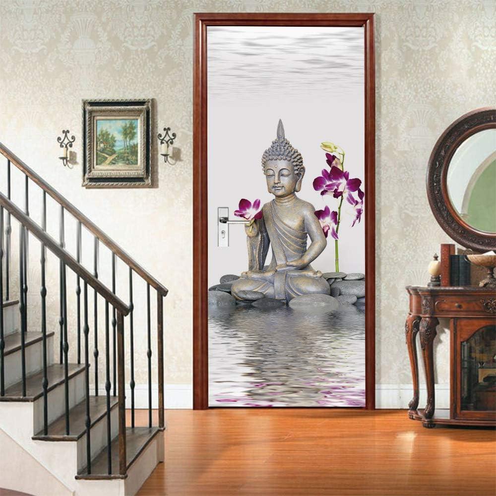 200Cm Statue de Bouddha ZDDBD Sticker pour Porte Salon Affiche Murale 3D 90