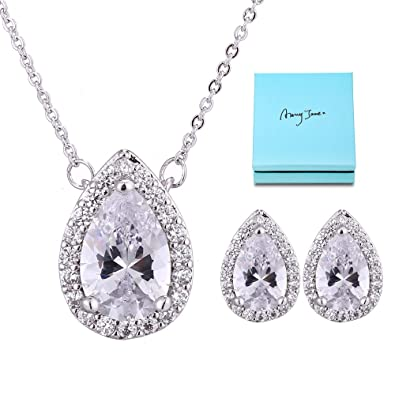 07026315042 AMYJANE Wedding Jewelry Set for Bridesmaids - Sterling Silver Teardrop  Cubic Zirconia Halo Earrings and Pendant