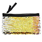 Clearance! Women Make-up Bag Double Color Sequins Coin Cards Holder Purse Wallet Pencil Pouch (B)