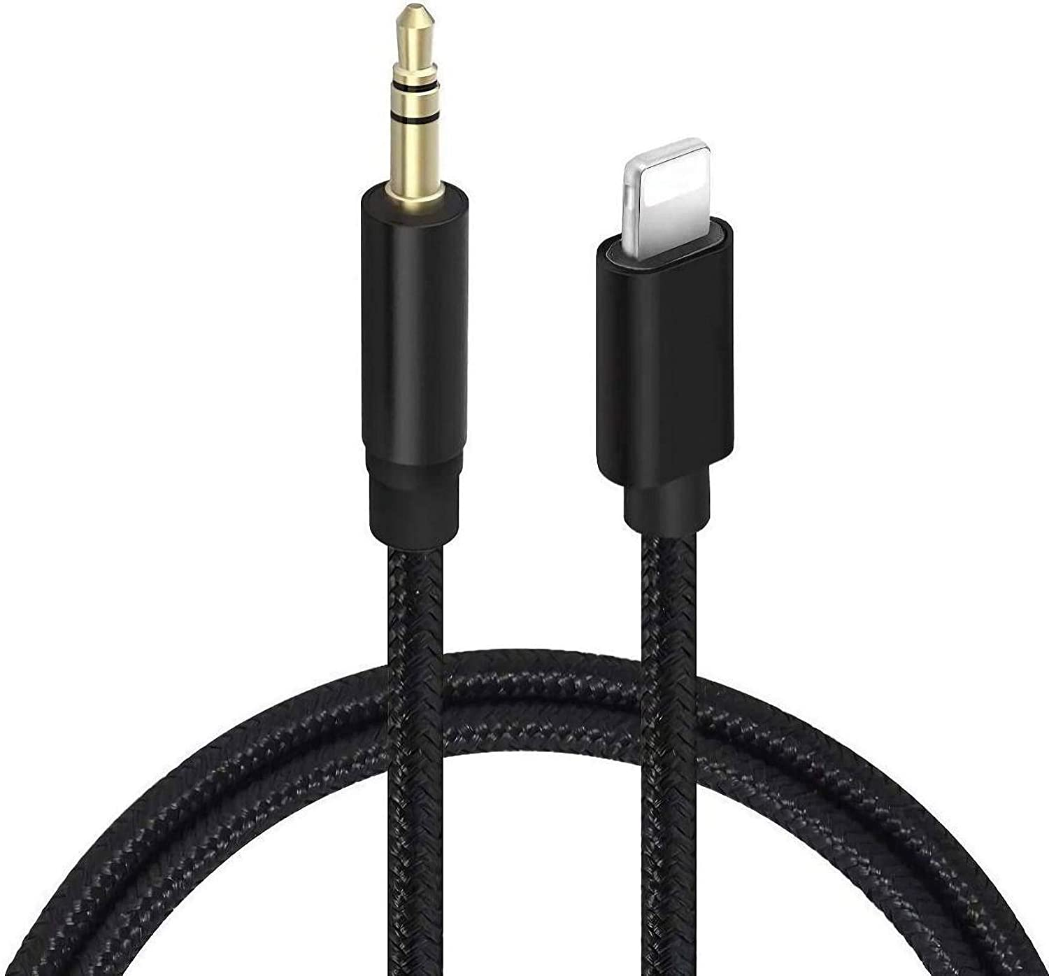 Aux Cord for iPhone, Glaida 3.5mm Aux Nylon Braided Stereo Audio Cable for Car Compatible with iPhone SE/11/11 Pro/XS/XR/X 8 7 6 to Car/Home Stereo, Speaker, Headphone - 3.3ft Black