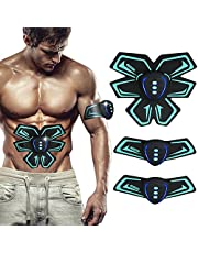 SHENGMI EMS Abs Trainer Muscle Stimulator Belt, Rechargeable Abdominal Muscle Toner Belt with Rhythm (Blank) (Black2)