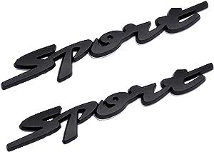 Xuxu521 2pcs Metal SPORT SPORTS Premium Car Body Side Fender Rear Trunk Emblem Badge Decals (Black Sport)