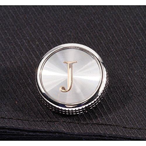 HJ Mens 2PCS Fashion Dazzle Tuxedo Shirts Platinum Plated Cufflinks Initial Letter 2 Color A-Z