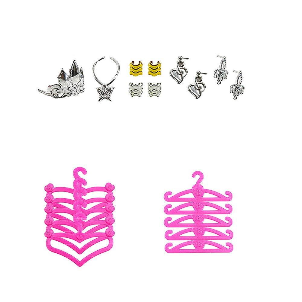 50pcs accessori per Barbie Doll e abiti da festa abiti -10 pezzi abiti da partito, 10 scarpe PCS, 10pcs appendiabiti e 10pcs gioielli per la ragazza compleanno regalo di Natale