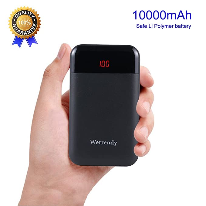 Portable Battery Charger,10000mAh Mobile Phone Battery Backup Light Weight  Power Bank Safe Li_Polymer LCD