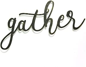 """Black Gather Themed Wall Decor, Grey Script Wall Decoration Rustic Cursive Writing Home Accent Sign Painted Distressed Worn Gray Barn Country Farm House, Metal 20"""" X 10"""""""