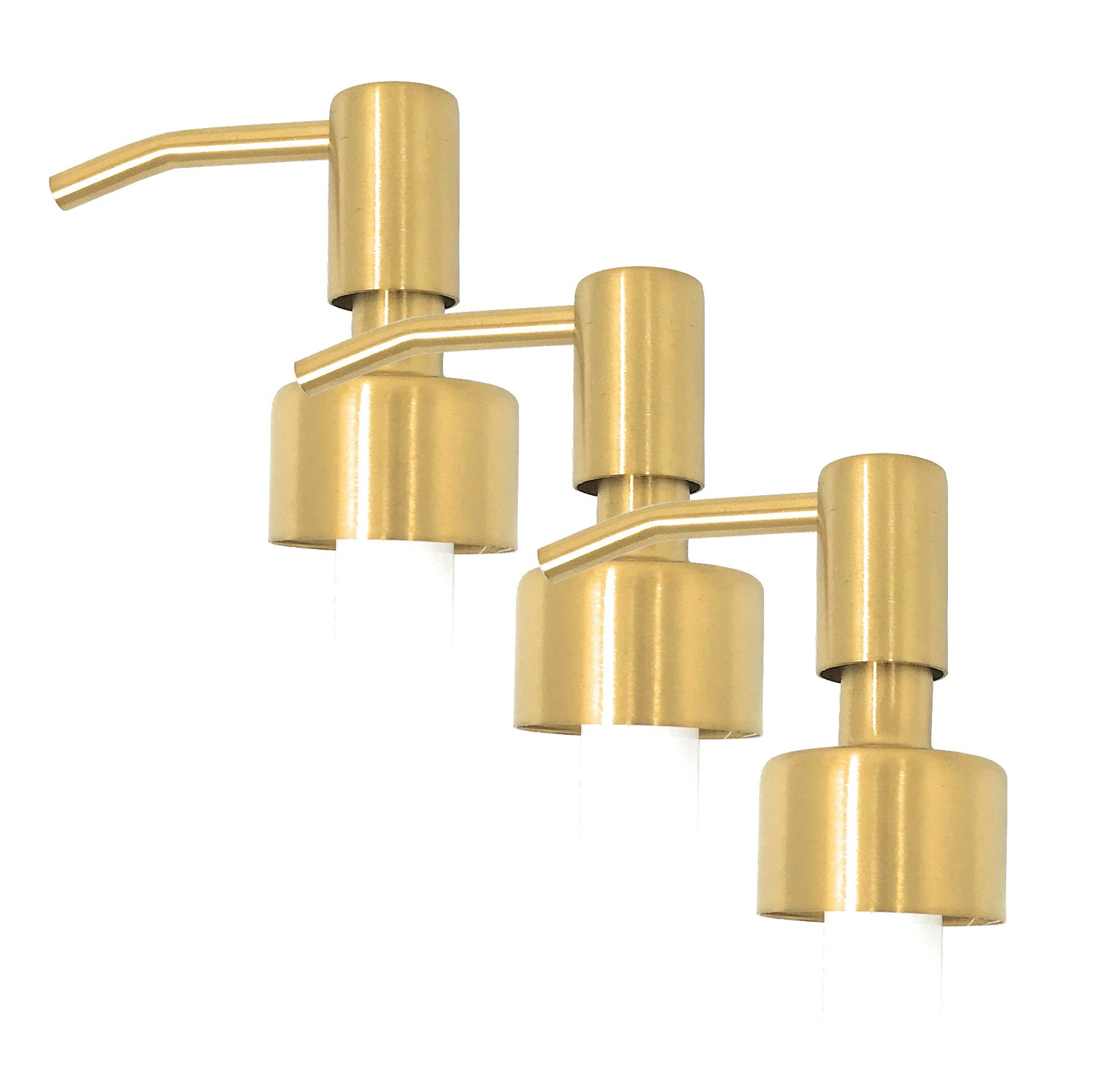 Stainless Steel Polished Brass Finish Lotion Dispenser Pump, 28/400, 2CC (Pack of 3)