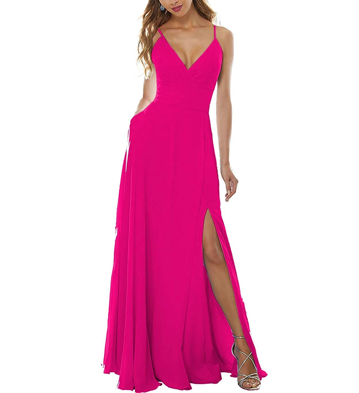 Hot Pink Stylefun Women's Side Split Bridesmaid Gowns VNeckline Spaghetti Straps Long Prom Party Dresses KN004