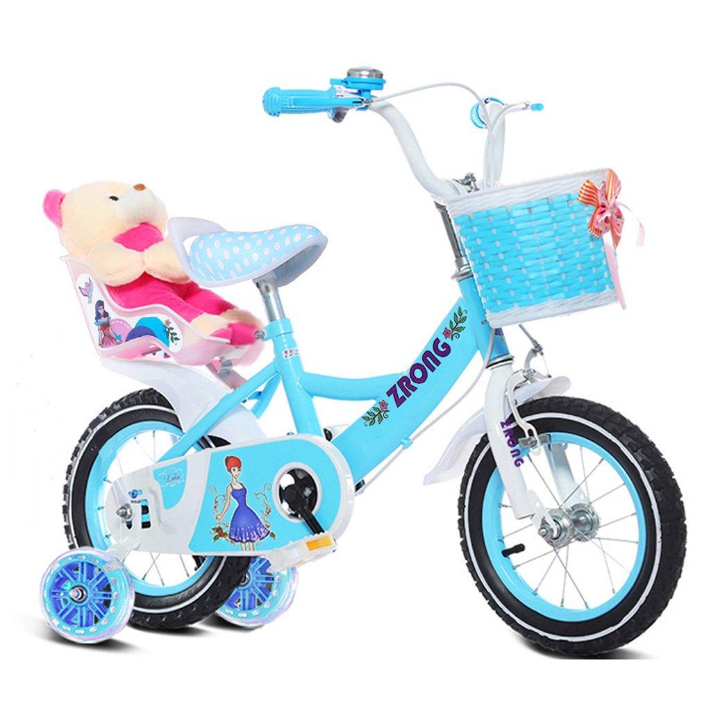 子供用自転車4-7歳の女の子用自転車16インチ乳母車ハイカーボンスチールフレーム自転車、ピンク/パープル/ブルー (Color : Blue) B07CYL7S9V