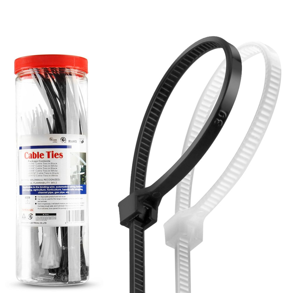 Flexzion Zip Tie Cable Wire Wrap 200 pcs 6+8+12 Inch 50lbs Tensile Strength Self Locking Heat UV Resistant Bulk Industrial Plastic Nylon Fasten Strap UL Listed for Home & Office, Black & White