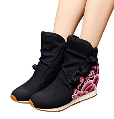 Womens Wave Embroidery Wedge Heel Button-up Ankle Booties