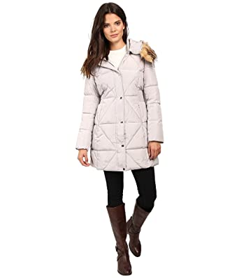 80a9d142b235 Jessica Simpson Women's Cinched Waist Puffer w/Hood and Removable Faux Fur  Pearl Large at Amazon Women's Coats Shop