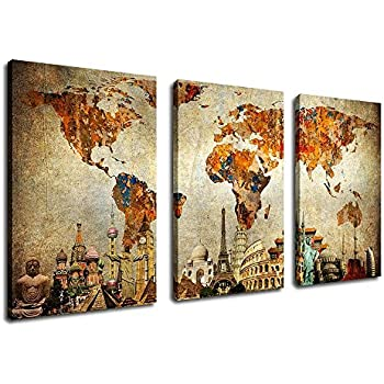 Amazon old world map painting wall art canvas prints extra old world map painting wall art canvas prints extra large 3 panel contemporary pictures modern gumiabroncs Choice Image