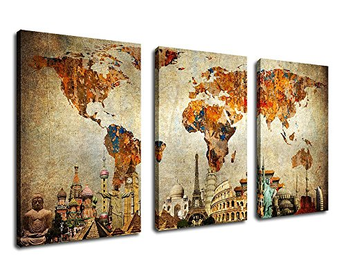 Old World Map Painting Wall Art Canvas Prints – Extra Large 3 Panel Contemporary Pictures Modern Artwork on Canvas Framed Ready to Hang for Living Room Bedroom Home Interior Decorations 60″ by 30″