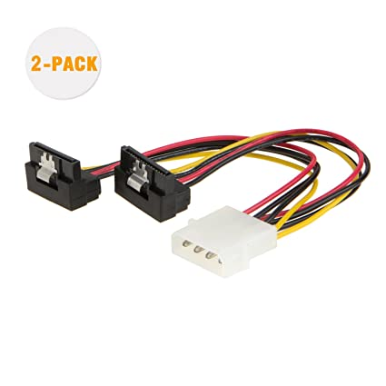 CableCreation Molex to SATA, [2-Pack] 6-Inch Molex 4 Pin to 2 x SATA 15 Pin  Down Angle Female Power Cable