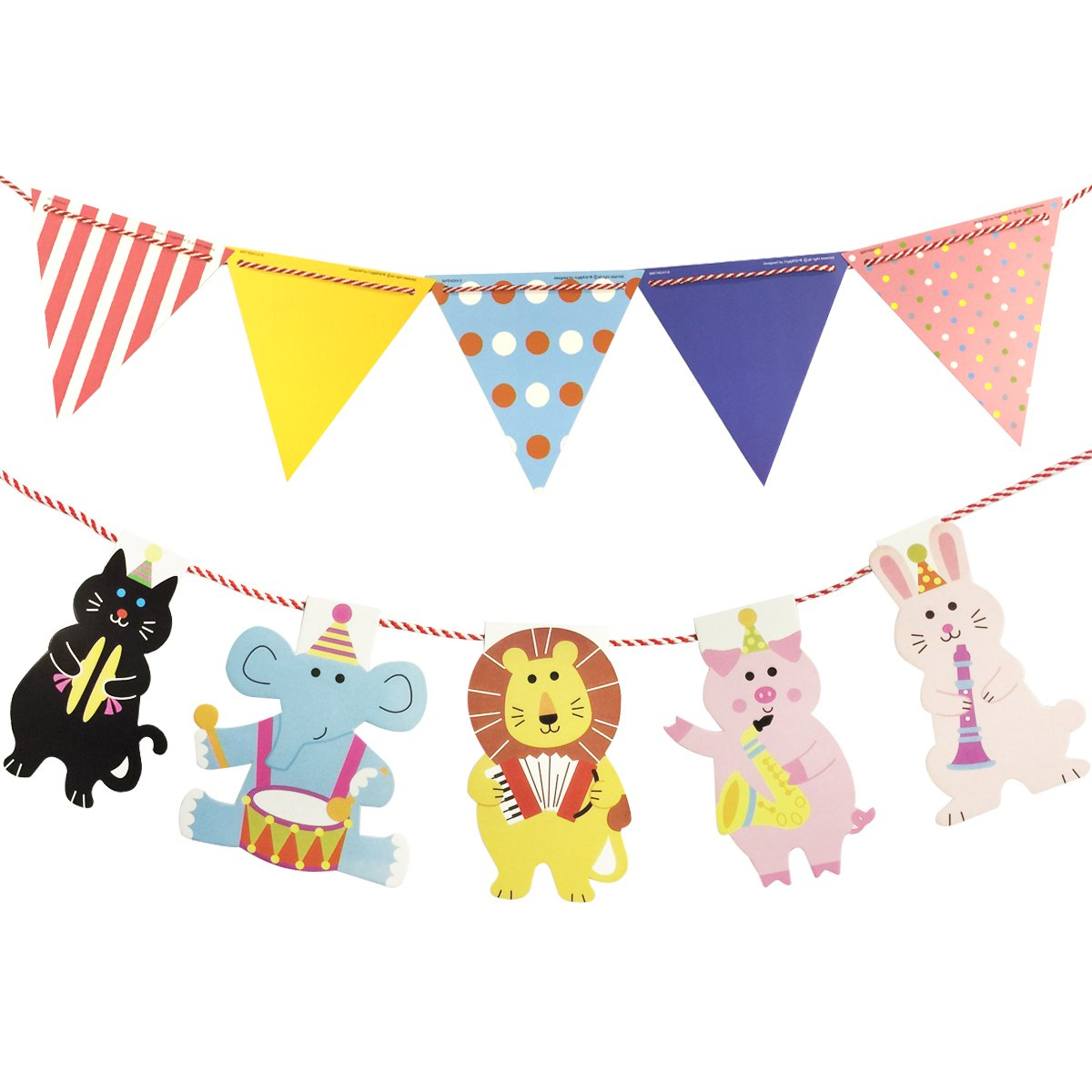 Wrapables Multi-Print Triangle Pennant and Animal Banners Party Decorations for Birthday Parties, Baby Showers, and Nursery Decor, Party Animals
