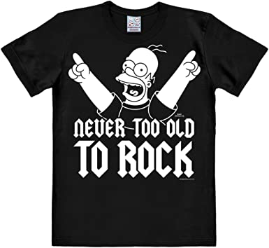Logoshirt Los Simpson - Homer - Nunca Demasiado Viejo para el Rock Camiseta - Negro - Diseño Original con Licencia: Amazon.es: Ropa y accesorios