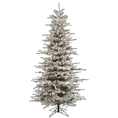 Vickerman Sierra Flocked Slim Pre Lit Christmas Tree Amazon Co Uk