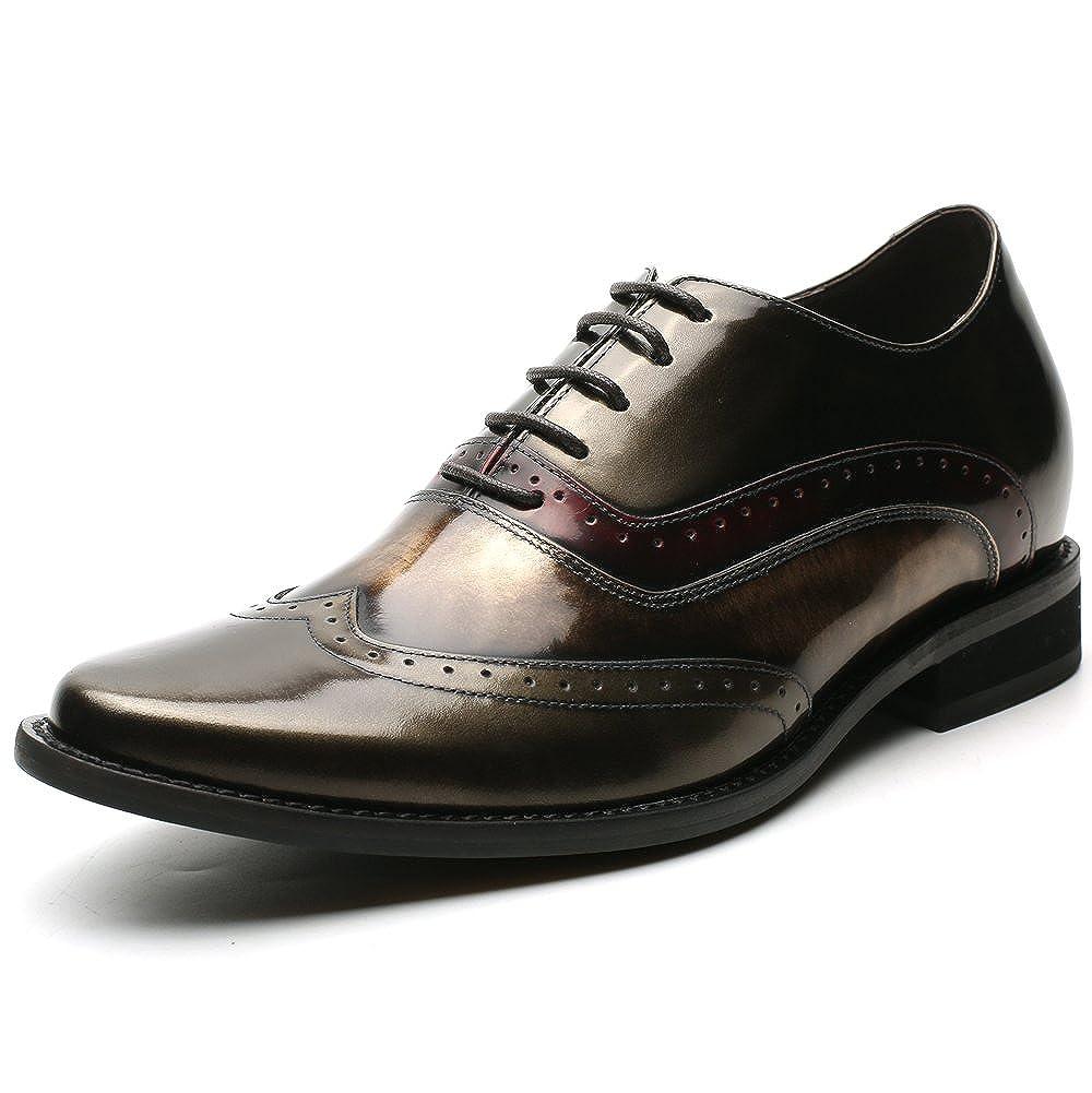CHAMARIPA Herren Schnürhalbschuhe Männer Schuhe Aufzug Höhe zunehmende Schnürung Blau zunehmende Schnürung Brogues Hochzeit Business Party H81D38D062D