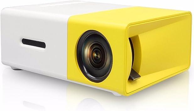 Opinión sobre Mini proyector portátil 1080P LED de cine en casa al aire libre con PC portátil USB/SD/AV/HDMI de entrada para vídeo, TV, videojuegos, Home Entertainment proyector amarillo amarillo