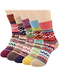 5 Pairs Socks Womens Vintage Style Winter Thick Knitting Warm Wool Crew