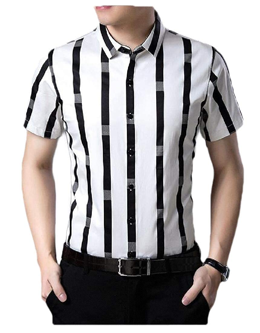 pipigo Mens Lapel Collar Slim Stripe Button-Down Short Sleeve Shirts