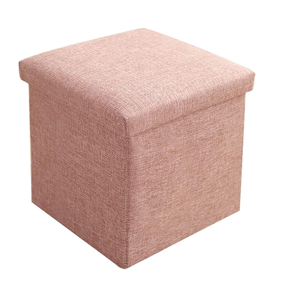 LFF- 30X30X30cm Storage Ottoman Cube Footrest Stool Folding Storage Ottoman for Living Room (Color : Bean Color)