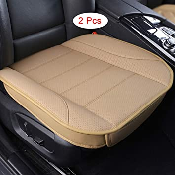 Beige Edge Wrapping 2PC Car Interior PU Leather Car Seat Cushions Protector Front Car Seat Covers Car Seat Cushion Single Seat Cushion Cover Pad Mat for Auto Four-door sedan /& SUV Driver Seat