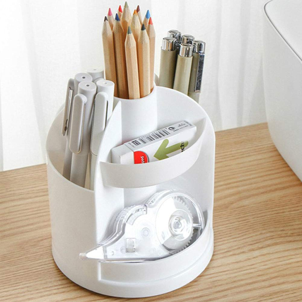 Multi-Function 360°Rotating Pencil Holder Pen Cup Desktop Organizer Caddy Rack Desk Storage Box Containers for Stationery Office Supplies(White)