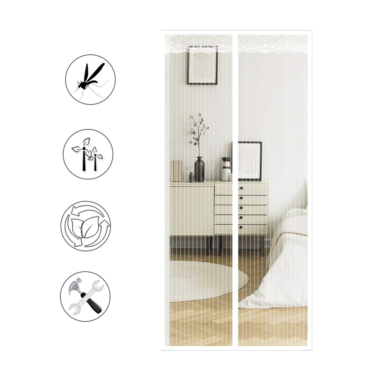 130x200cm(51x79inch) Magnetic Screen Door Mesh Curtain White, Mesh Door Screen with Magnet Fly Mosquitos Bug Insect Screen for Sliding French Patio Door,Full Frame Hands Free,Pet Friendly,130x200cm(51x79inch)